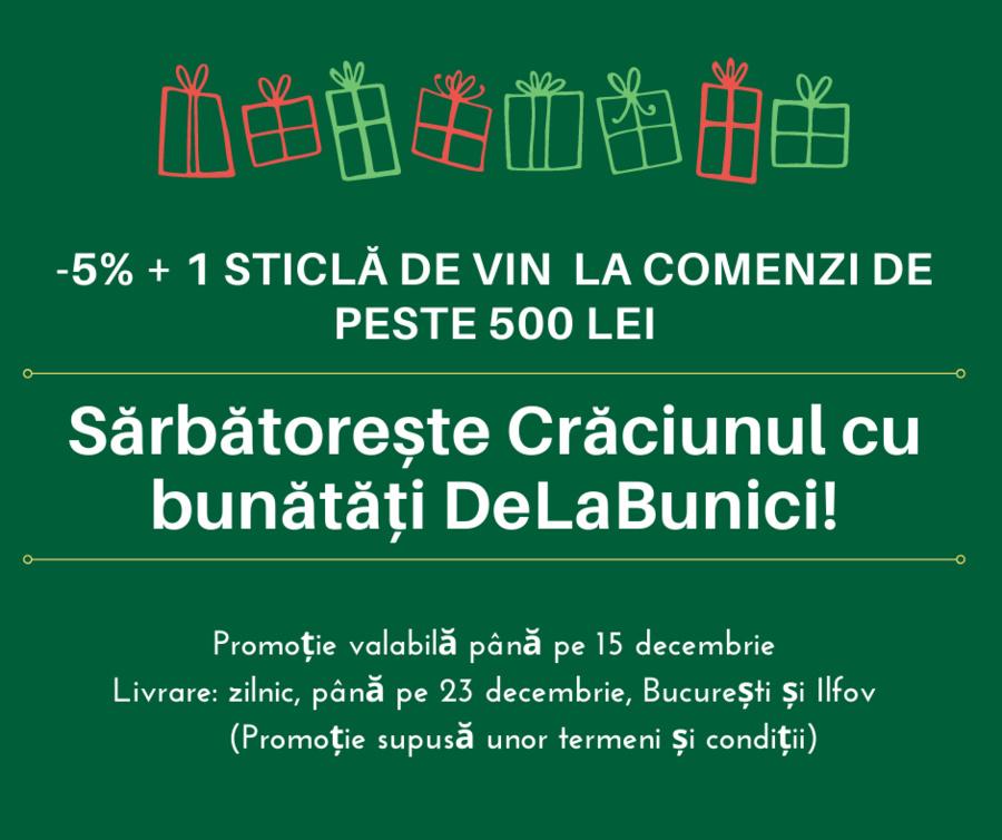Precomandă masa de Crăciun - 5% Off+ 1 sticlă de vin bun